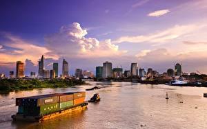Картинка Вьетнам Рассветы и закаты Небоскребы Корабли Пирсы Контейнеровоз Залив Saigon Города