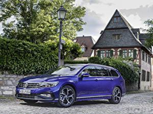 Фотография Volkswagen Синих Металлик Универсал 2019 Passat R-Line Variant Worldwide Автомобили