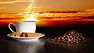 Картинка Кофе Корица Чашка Зерна Сахар Пар Еда