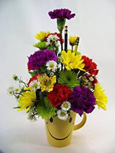 Картинки Букеты Гвоздики Хризантемы Серый фон Ваза Цветы
