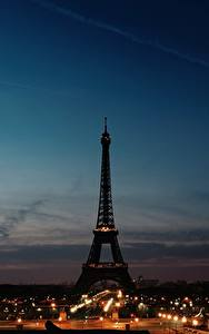 Фотография Небо Франция Эйфелева башня Силуэт Париже Ночь город