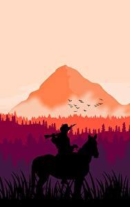 Фотография Горы Леса Лошадь Red Dead Redemption 2 Силуэта arthur morgan компьютерная игра