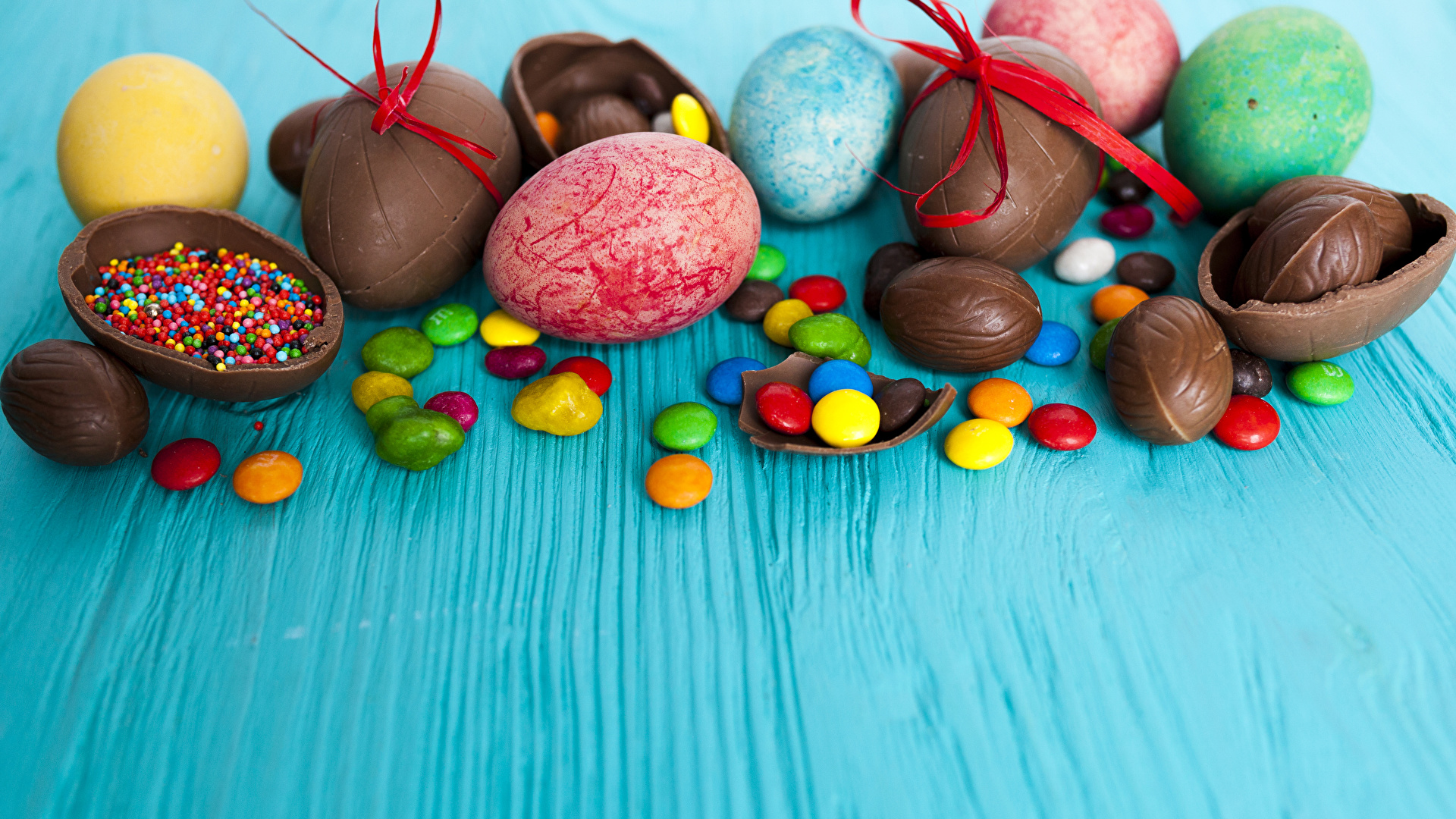 Фото Пасха яиц Шоколад Конфеты Еда сладкая еда 1920x1080 яйцо Яйца яйцами Пища Продукты питания Сладости