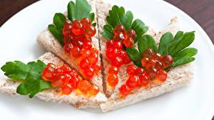 Картинки Бутерброд Выпечка Морепродукты Икра Еда