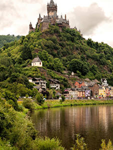 Фотографии Кохем Германия Дома Река Замки