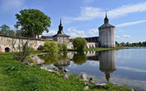 Фотография Крепость Россия Озеро Лето Трава town of Kirillov, Kirillo-Belozersky Monastery, Lake Siverskoye