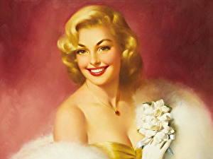 Картинки Картина Блондинки Улыбается Красивые Edward Runci девушка