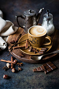 Картинка Кофе Шоколад Корица Орехи Бадьян звезда аниса Чашка