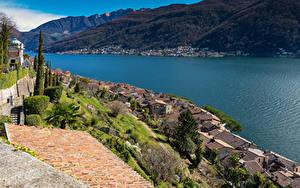 Фотографии Швейцария Озеро Здания Крыша Morcote Lake Lugano
