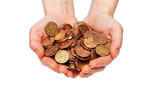 Картинка Деньги Монеты Белый фон Руки