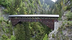 Обои Мосты Горы Швейцария Утес Disentis