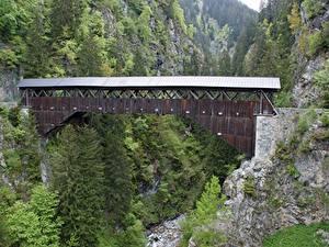 Обои Мосты Горы Швейцария Скалы Disentis