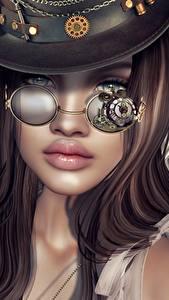 Картинки Паропанк Ангел Очки Фэнтези 3D_Графика Девушки