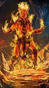 Фотографии Пламя Сверхъестественные существа Демоны С рогами Spirit of fire Фэнтези