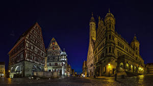 Картинка Германия Здания Дороги Бавария Улица Ночные Rothenburg Города