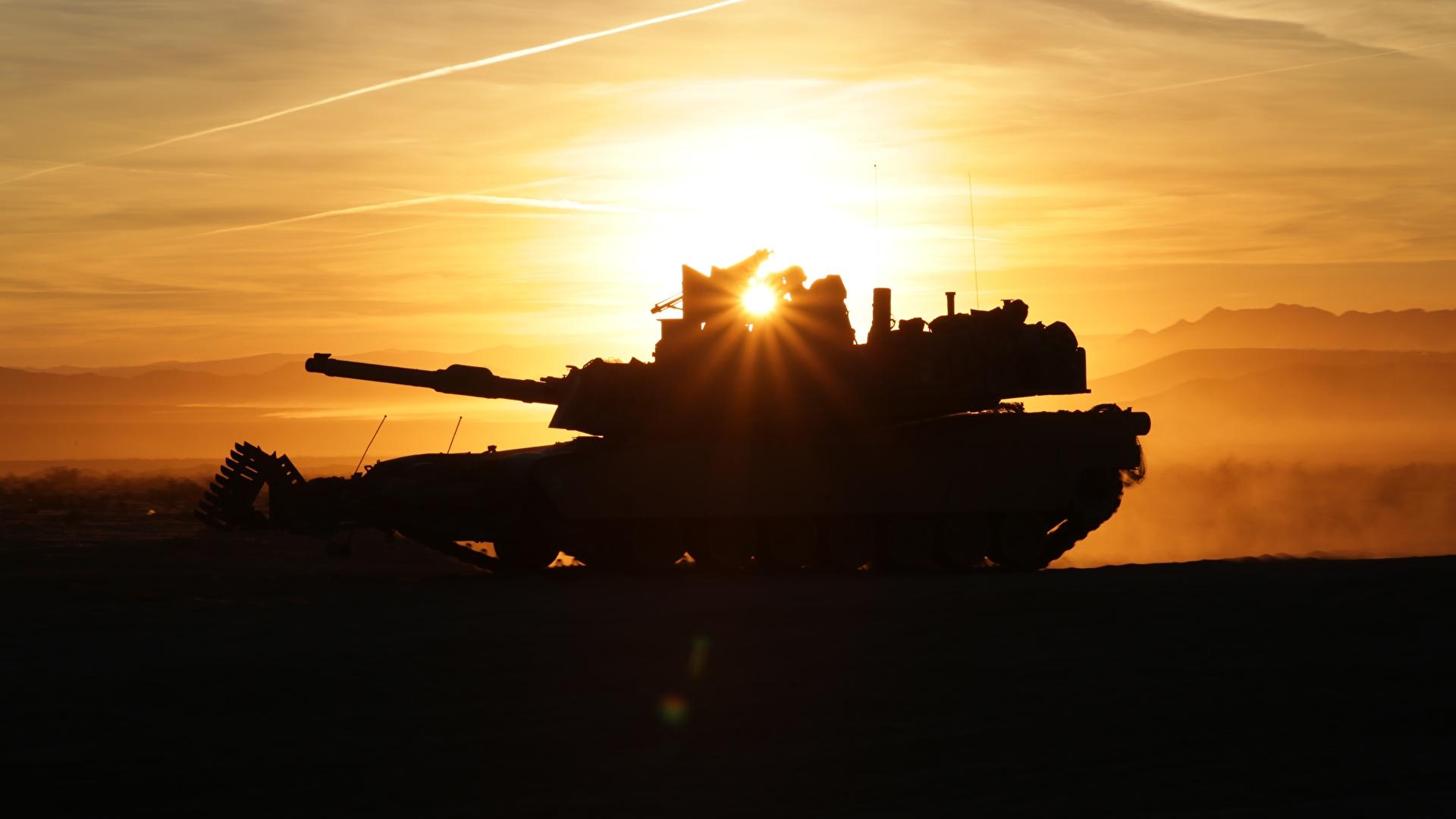 Картинка Лучи света Абрамс М1 Танки силуэта M1A2 Армия 1920x1080 танк Силуэт силуэты военные
