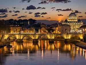 Картинка Мосты Реки Вечер Рим Италия город