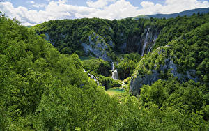 Фото Хорватия Парк Лес Водопады Скала Plitvice Lakes National Park