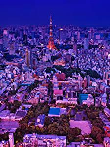 Фотография Япония Токио Здания Вечер Мегаполиса Города