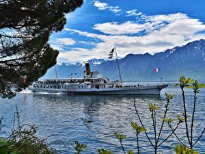 Фото Швейцария Озеро Горы Речные суда Облако Montreux Природа