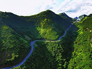 Обои Вьетнам Горы Дороги Мох Bac Can Природа
