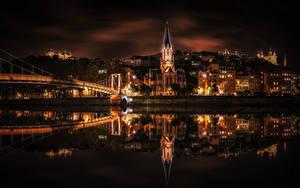 Обои Франция Дома Речка Мосты Ночь Отражение Lyon город