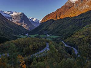 Фото Швеция Горы Дороги Леса Природа
