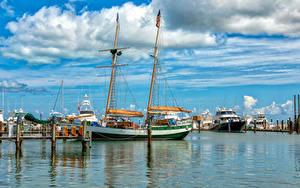 Картинка Штаты Пирсы Корабли Парусные Флорида Залив Key West