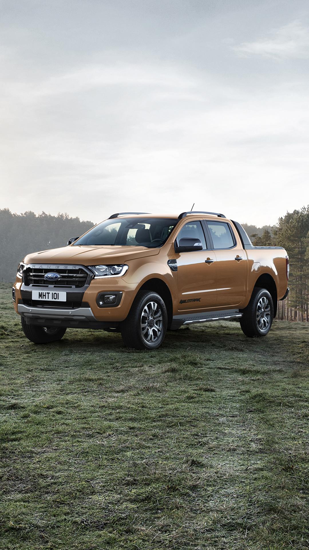 Обои для рабочего стола Форд 2019 Ranger Wildtrak Пикап кузов Металлик Автомобили 1080x1920 для мобильного телефона Ford авто машина машины автомобиль