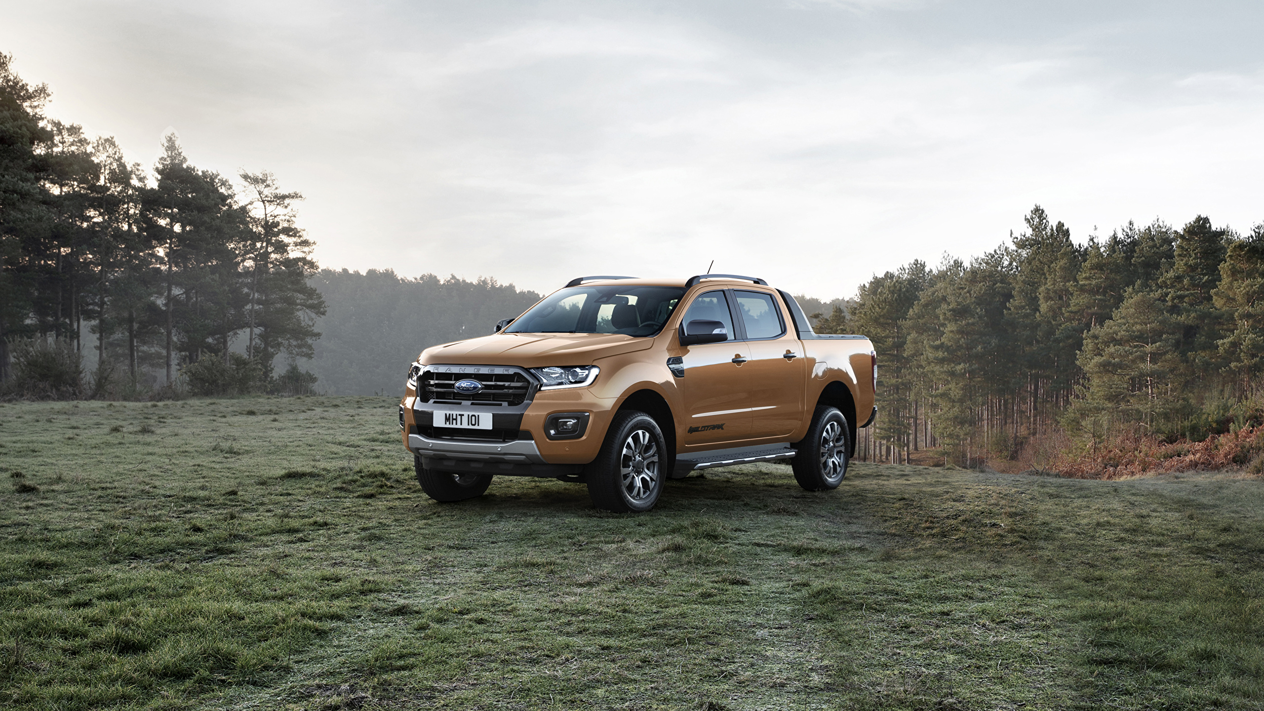 Обои для рабочего стола Форд 2019 Ranger Wildtrak Пикап кузов Металлик Автомобили 2560x1440 Ford авто машина машины автомобиль