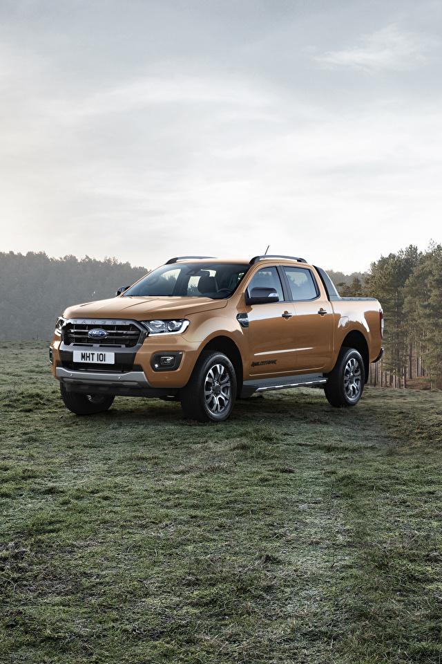 Обои Форд 2019 Ranger Wildtrak Пикап кузов Металлик Автомобили 640x960 Ford Авто Машины