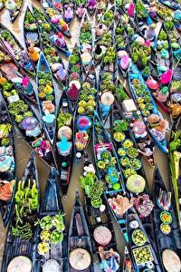 Картинка Лодки Фрукты Овощи Много Сверху Еда
