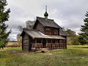 Картинки Россия Храмы Церковь Музей Деревянный Novgorod Museum Vitoslavlitsy