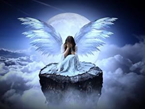 Фото Ангелы Облако Луной Скалы Сидит Крылья Грусть Фэнтези Девушки
