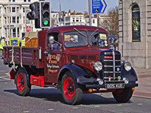 Картинка Винтаж Бордовые Металлик Пикап кузов 1948 Bedford K type truck авто