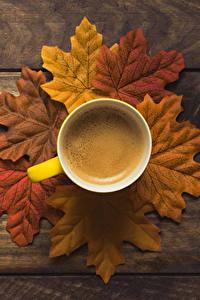 Обои Осенние Кофе Доски Листва Чашка Пища
