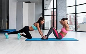 Картинки Фитнес Физические упражнения 2 Спорт Девушки