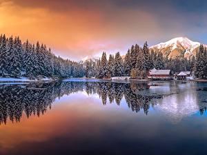 Фотография Озеро Горы Австрия Зимние Keltendorf