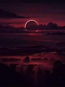 Фотографии Небо Ночные Облачно Луны