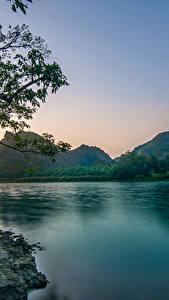 Фото Вьетнам Реки Вечер Горы Пейзаж Ветвь