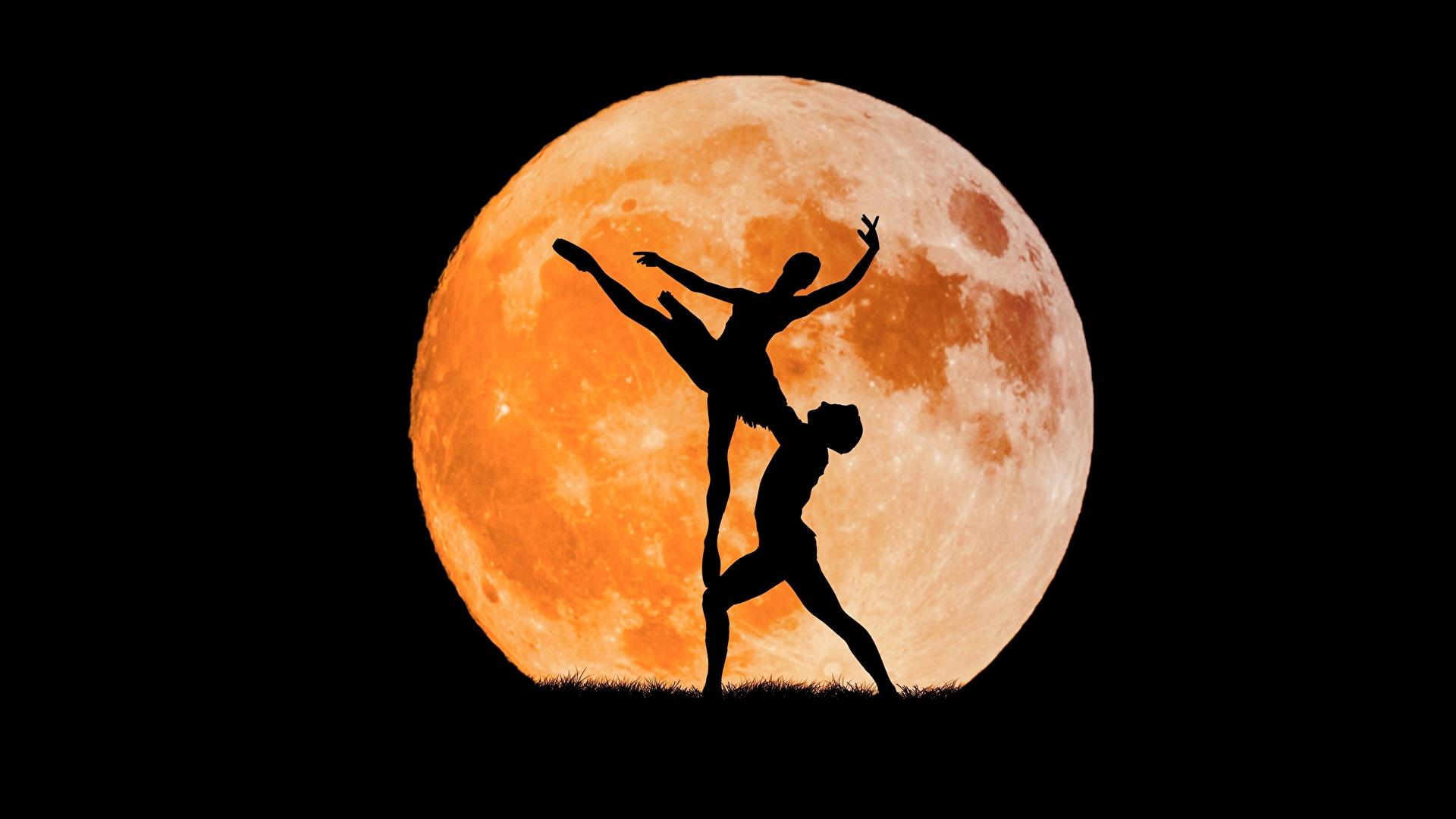 Обои Балет силуэты луны 1920x1080 балете балета Силуэт силуэта Луна луной