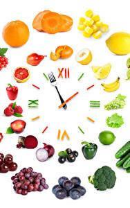 Фотография Часы Овощи Фрукты Креатив Белом фоне Дизайна Пища