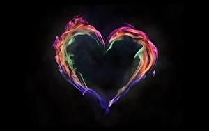 Фото Огонь Сердце Черный фон
