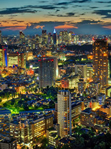 Картинка Япония Токио Здания Небоскребы Мегаполис Ночные