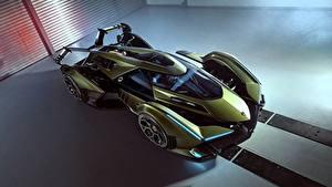 Обои Ламборгини Сверху Зеленая Vision Gran Turismo 2019 Lambo V12