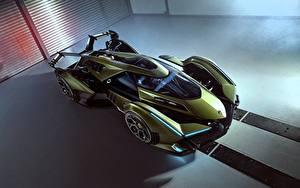 Обои Ламборгини Сверху Зеленая Vision Gran Turismo 2019 Lambo V12 авто