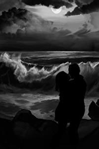 Фотографии Любовь Рисованные Волны Берег Любовники 2 Черно белое Ночь Поцелуй