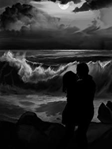 Фотографии Любовь Рисованные Волны Побережье Любовники Два Черно белое Ночные Поцелуи