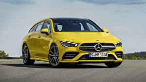Фотография Mercedes-Benz Желтый Металлик 2018 AMG CLA 35 4MATIC Shooting Brake Worldwide авто