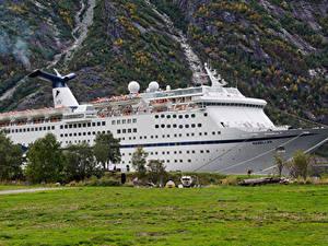 Картинки Норвегия Пирсы Круизный лайнер Eidfjord Hordaland Природа